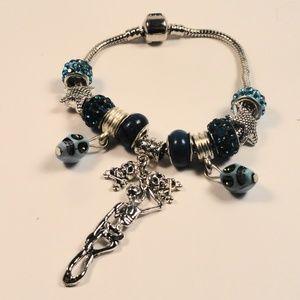 Jewelry - Blue charm bracelet Dangle Skeletons & Skulls